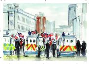 Vintage Northen Ireland poster - Police vans at flag protest